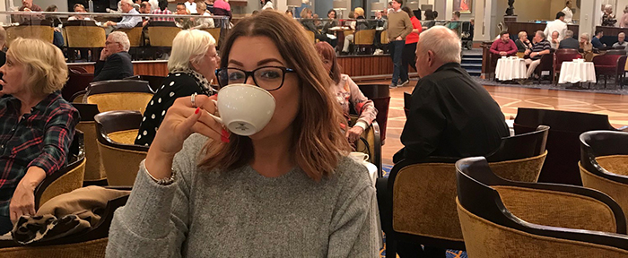Victoria with coffee